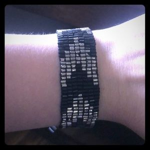 Black and Silver Express Beaded Bracelet